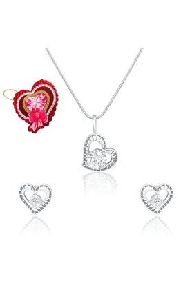 MAHIMahi Stylized Heart Pendant Set Made With Swarovski Zirconia With Heart Shaped Card For Women NL5105019RCd