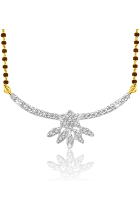 SPARKLES 18Kt Gold Mangalsutra With Diamond Pendant Along With Gold Plated Silver Chain And Black - 7499813_9999