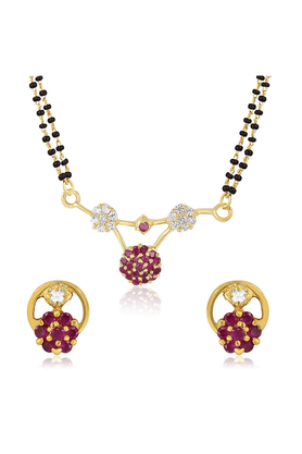 MAHI Mahi Gold Plated Divine Mangalsutra Set With CZ & Ruby For Women NL1103505G2