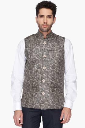 VETTORIO FRATINIMens Mao Collar Printed Nehru Jacket - 201589221