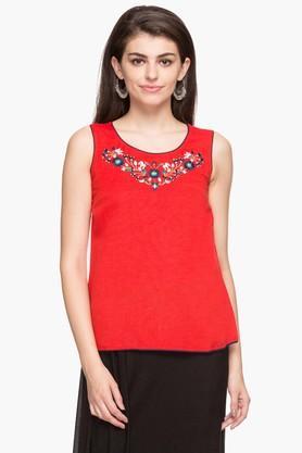 IMARAWomens Round Neck Solid Embroidered Kurta - 202172156_9607
