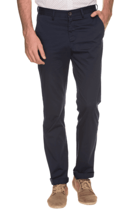 ALLEN SOLLY Mens Slim Fit Solid Formal Trousers