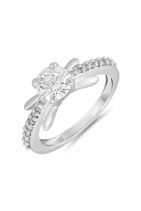 MAHI Mahi Rhodium Plated Enamour Silver Finger Ring With CZ For Women FR1100634R