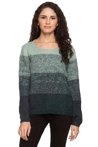 Womens Round Neck Colour Block Knitted Sweater