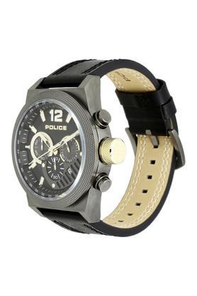 Mens Black Dial Leather Multi-Function Watch - PL15529JSU02