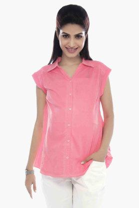 NINE MATERNITY Maternity Formal Shirt With Overdye Effect