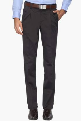 VAN HEUSEN Mens 3 Pocket Solid Pleated Front Formal Trousers - 202461161
