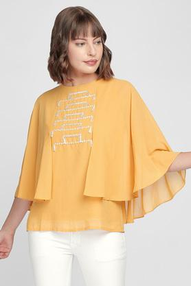 Womens Straight Fit Round Neck Solid Embroidered Top