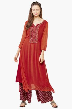 Women's Embroidered Kurta Palazzo Set
