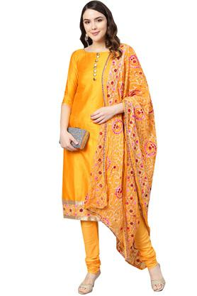 Womens Unstitched Round Neck Solid Embroidered Churidar Suit
