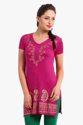 IRA SOLEILWomens Slim Fit Printed Kurta (Buy Any Ira Soleil Product And Get A Necklace Free) - 201787469
