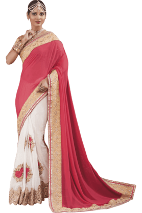 DEMARCAWomens Georgette Saree (Buy Any Demarca Product & Get A Pair Of Matching Earrings Free) - 200947144