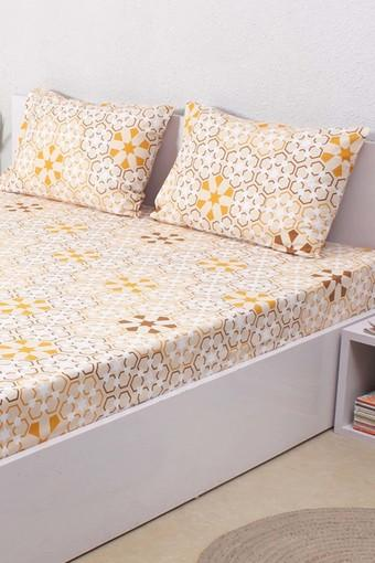 249e4d4c26 Buy HOUSE THIS The Wily Kaleidoscope 100% Cotton Single Bed Sheet & 1  Pillow Cover - Beige | Shoppers Stop