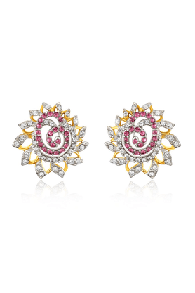 MAHIMahi Gold Plated Pink Dahlia Flower Earrings Made With Swarovski Elements For Women ER1194129GPinWhi