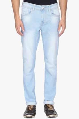 FLYING MACHINE Mens Tapered Fit 5 Pocket Mild Wash Jeans (Micheal Fit)  ...
