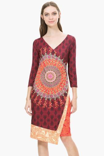 Womens Surplice Neck Printed Wrap Around Dress