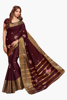 Women Cotton Floral With Zari Border Embroidered Saree