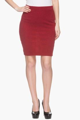 FEMINA FLAUNT Womens Slub Knee Length Skirt