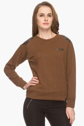 IRIS Womens Round Neck Solid Textured Sweatshirt