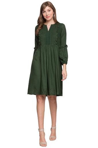 Womens Notched Collar Solid A-Line Dress