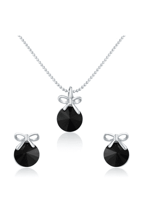 MAHI Mahi Rhodium Plated Black Swarovski Elements Pendant Set For Women NL1104080RBla