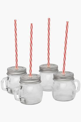 IVY4 Glass Juice Jars Wid Straw