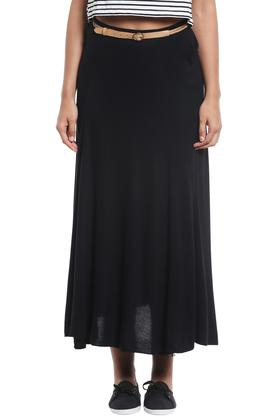 WILDCHILD Womens Flared Solid Long Skirt  ...