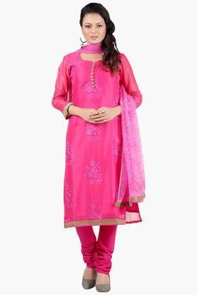 JASHNWomen Floral Embroidered Chanderi Cotton Churidaar Kameez Dupatta