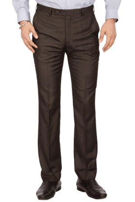 PARK AVENUEMens Flat Front Slim Fit Solid Formal Trousers - 200019729