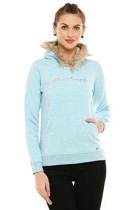 Womens Hooded Neck Slub Sweatshirt