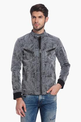 JACK AND JONES Mens Band Collar Printed Jacket