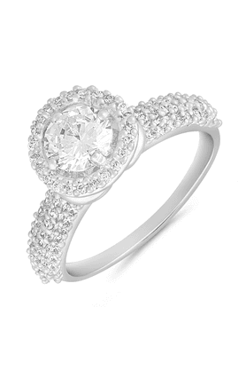 MAHI Mahi Rhodium Plated Cosy Sparkle Finger Ring With CZ For Women FR1100636R