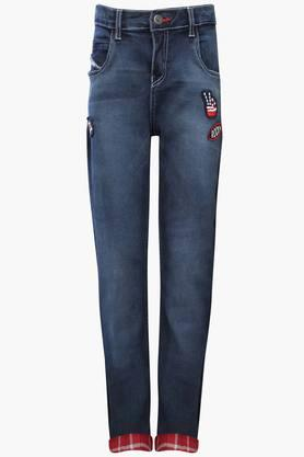 Boys 5 Pocket Mild Wash Applique Jeans