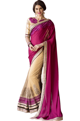 DEMARCAWomens Georgette Net Saree (Buy Any Demarca Product & Get A Pair Of Matching Earrings Free)