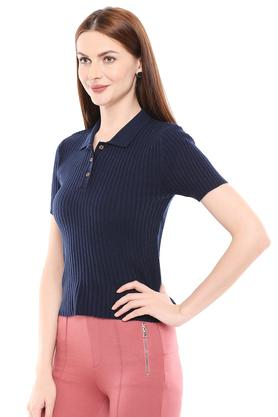 Womens Stripe Polo T-Shirt