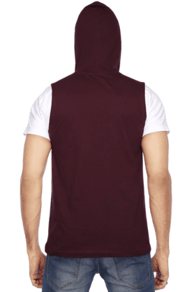 Mens Short Sleeves Slim Fit Hooded Neck Print TShirt