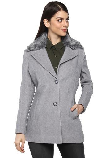 Womens Synthetic Fur Notched Lapel Slub Coat