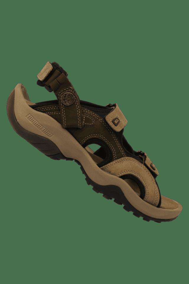 Mens Leather Velcro Closure Casual Sandal
