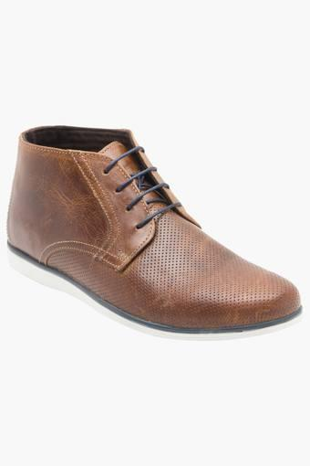 Mens Leather Lace Up Casual Boots