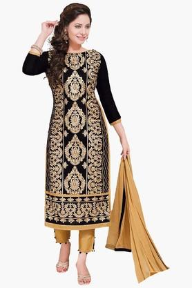 ISHIN Womens Embroidered Unstitched Dress Material - 201832735