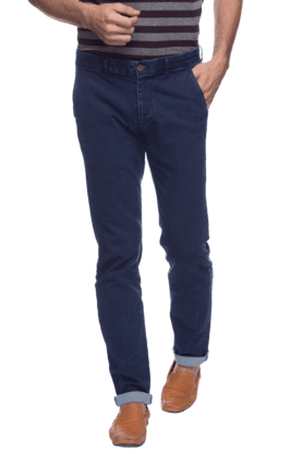 INDIAN TERRAIN Mens Flat Front Slim Fit Solid Chinos