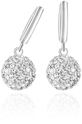MAHIMahi Liana Collection White Rhodium Plated Swarovski Elements Hoop Earrings For Women-ER1104004R
