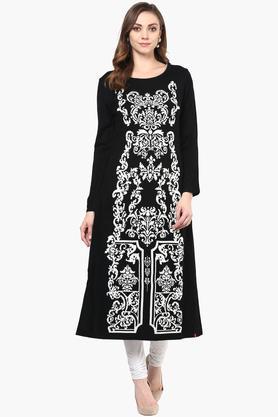 WWomens Round Neck Printed Knitted Kurta