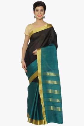 Women Green&Checks Zari Chanderi Saree