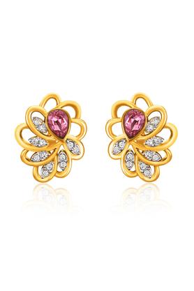 MAHIMahi Gold Plated Pink Marigold Flower Earrings Made With Swarovski Elements For Women ER1194128GPinWhi