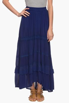 HAUTE CURRYWomens Lace-embellished Flared Skirt