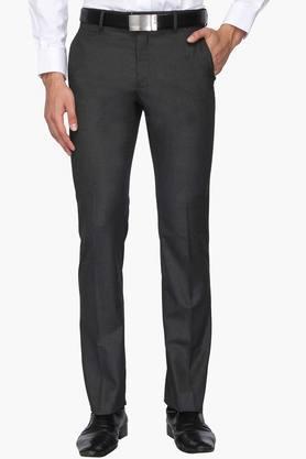 VAN HEUSENMens 4 Pocket Slim Fit Slub Formal Trousers