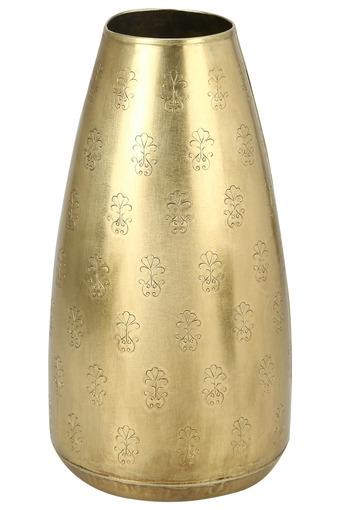 Cylindrical Embossed Flower Motif Tejas Etched Vase - 28 cms