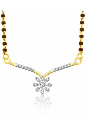 SPARKLES 18 Kt Diamond Mangalsutra With Silver Chain And Black Beads - Pn9401