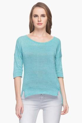 FEMINA FLAUNT Womens Round Neck Slub Sweater